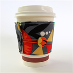 Coffee Cup Cuff/ Cosy/ Sleeve - Desert Arrows and Golden orange suns on Grey.