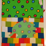 Fabric Folder , storage  Documents, Homework Artwork, Echidna, Bright Squares.