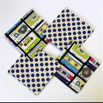 4 x Reversible Fabric Coasters - Retro Music casettes & blue polka dots