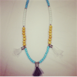 Stylish Beaded Necklace with Funky Tassels