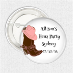 """Hens Party favours. New design """"Cowgirl Boots"""" 10 badge pack"""