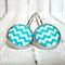 Chevron Blue - Leaver Back Glass Cabochon Earrings