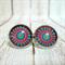 Geometric Eye - Stud Back Glass Cabochon Earrings