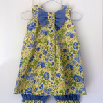 Toddlers spring floral bow dress with matching bloomers