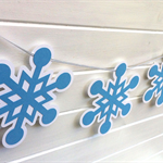Snowflake Garland. Birthday party banner, baby shower, Christmas, Frozen decor.