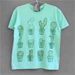 CACTUS. 100% cotton T shirt. Hand painted. Mint green tshirt. Cactus tee.