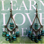 Turquoise in Brass Diamond earrings