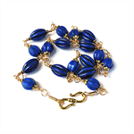 Blue and Gold Necklace. Melon Ball Beads
