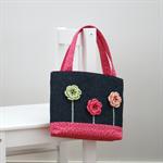 Mini Tote Bag - Denim & Bright Pink