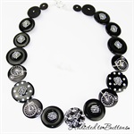 Black White Penny Farthing Bicycle - Cycle - Buttons Necklace - Jewellery