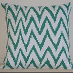 Green & White Zigzag Design Cushion Cover