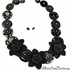 Roses are Black - Flowers - Red Buttons - Necklace - Earrings
