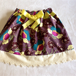 Girls skirt ,aubergine with retro coloured modern flowers, cotton lace , ribbon