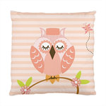 Children's Cute Owl With Branch & Pink Striped Background Satin Cushion Cover