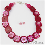 Square Flower - Pink Pearl - Button Necklace - Earrings - Jewellery