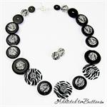 Black White Zebra Stripes Button - Buttons Necklace - Jewellery - Bonus Earrings