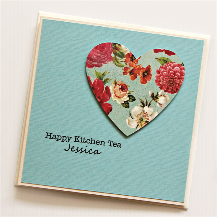 Kitchen Tea Quotes For Cards: Personalised Kitchen Tea Card Handmade Turquoise Vintage