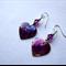 Amethyst dyed paua shell heart earrings