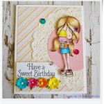 Have a Sweet Birthday Handmade & Coloured Greeting Card - Girl with Ice Cream