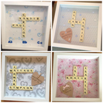 Personalised scrabble frames to celebrate a new arrival or christening