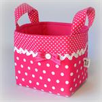 """Pink Polka Dots"" Fabric Storage Basket - 12.5cm"
