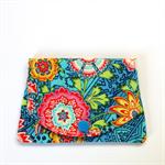 Pocket Purse - Boho Rainbow Flower Garden on Blue