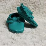 newborn - 3 month leather shoes aqua