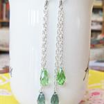 Moana Earrings Swarovski Crystal Bridal Wedding Green Blue Peridot Silver