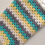 Crochet Neatual Baby Blanket Mint, Grey, Lemon and White Made to Order