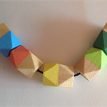 Hand painted geometric faceted wooden bead necklace.BLUE,CORAL,YELLOW, GREEN,