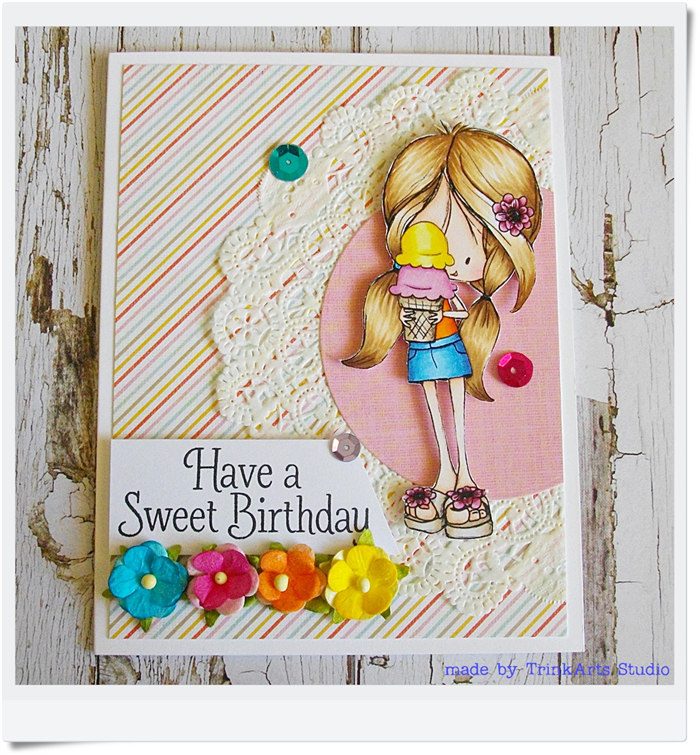 Have A Sweet Birthday Handmade Coloured Greeting Card Girl With