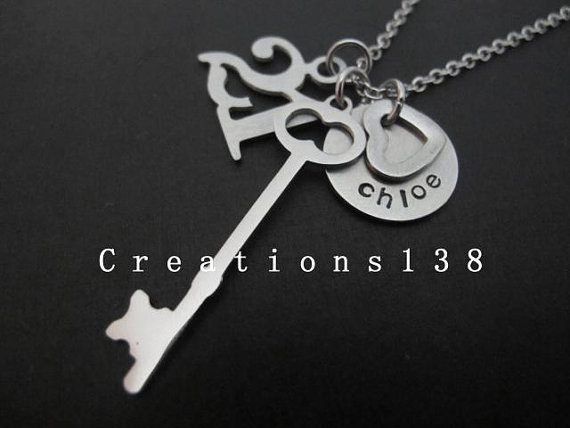 Personalized 21st Birthday Ideas Heart Key Necklace