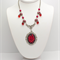 Red and Black Cameo on Beaded Chain with Matching Earrings