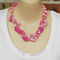 Pinks Crochet Wire Beaded Handmade OOAK Necklace by Top Shelf
