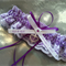 Wedding Garter , beautiful personalised purple satin and white Lace with heart