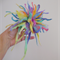 abstract raggy felted pastel rainbow flower brooch