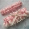 Wedding Garter Set  personalised soft pink satin and Ivory Lace with heart