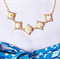 Calandra Necklace Flower Cabochon Cream White Ombre Brass Brown Vintage