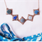 Phaedra Necklace Flower Cabochon Navy Blue Royal Pastel Sky Copper Cute