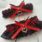 Wedding Garter Set ,  personalised red satin and black Lace with heart