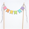 Cake Topper - Pastel Rainbow and Silver Glitter Banner