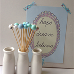 """Polymer Clay """"Popsticles"""" blue/white Set of 14 Decorative balls"""