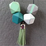 Hand Painted Wooden Geometric Necklace (Long)