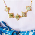 Evania Necklace Flower Cabochon Green Ombre Gold Plated Vintage