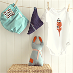 baby boy gift set | feather onesie | bloomers | crochet bib | rabbit toy