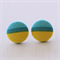 Buy 3 Get 1 Free! Teal & Yellow Stripe Fabric Button Stud Earrings