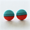 Buy 3 Get 1 Free! Teal & Red Stripe Fabric Button Stud Earrings