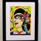Limited Edition Picasso Style Frida Kahlo with Flowers and Budgie Framed Print