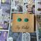 Jade green handmade polymer clay stud earrings
