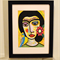Limited Edition Picasso Style Art Frida with Flowers and Budgie Framed Print